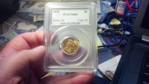 1878 $3 Gold Indian PCGS MS 64